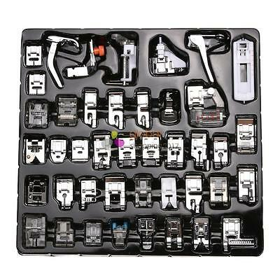 42 PCS Domestic Sewing Machine Foot Presser Feet Snap On For Brother Singer Set