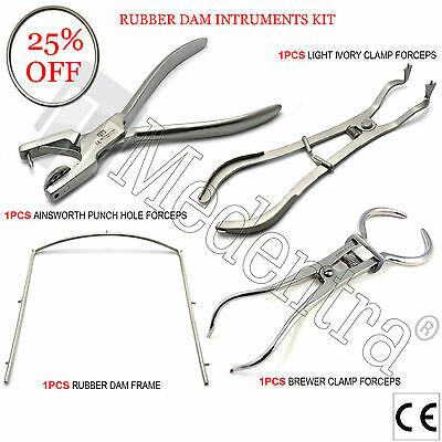 X4 Dental Rubber Dam Kit Punch Hole Ainsworth Forceps Clamp Pliers Brewer+Frame
