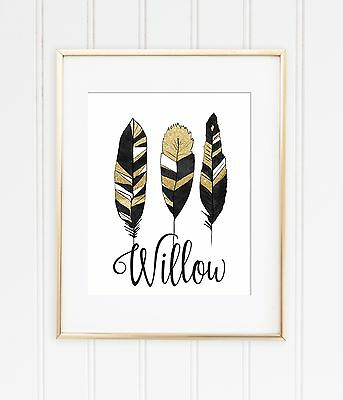 Custom baby name boho feather black and gold A4 wall print nursery room