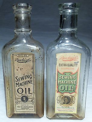 Cork Top 1900s RAWLEIGH'S SEWING MACHINE OIL BOTTLE (2 different) w/ LABEL
