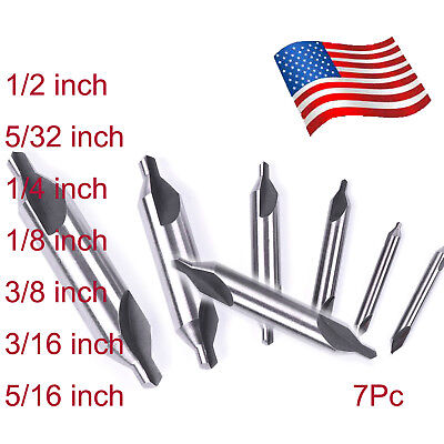"7Pc 60°Degree Combination Drill & Countersink Center Drills Bit 1/2"" to 5/16"" US"