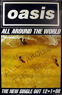 """40x60"""" HUGE SUBWAY POSTER~Oasis 1998 All Around the World Be Here Now Original~"""