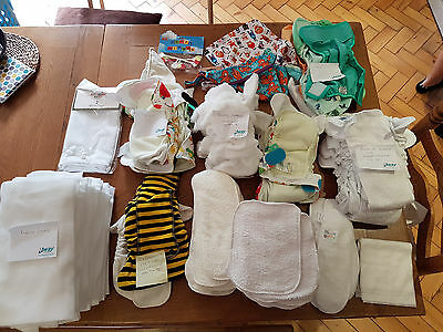 Reusable nappy stash - multiple nappies and associated things - see description