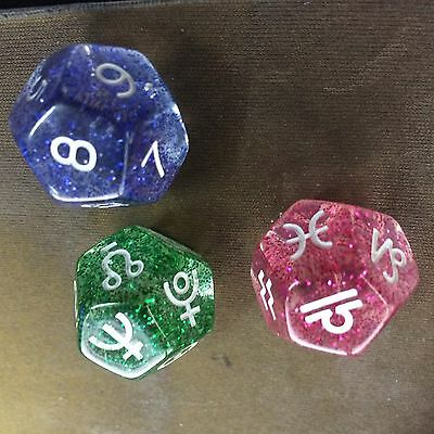 Astrological Dice - 3 x 12 sided pastel-coloured dice, blue velvet bag