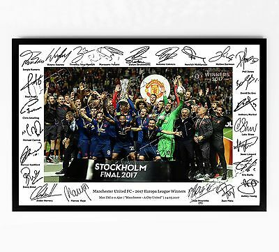 Manchester United Signed Print Poster Photo Squad 2017 Europa League Man Utd