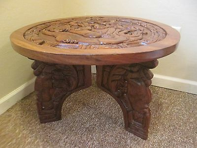 "Antique Hand Carved Walnut Wood Nightstand Accent End Table 26"" Wide  18"" High"