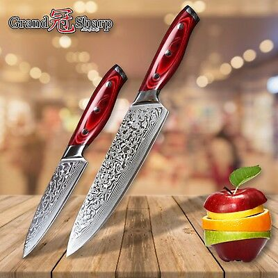 2 pcs Knife Set Damascus Japanese Stainless Steel Chef Utility Kitchen Knives