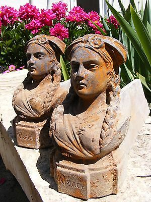 Antique French Firedogs-Andirons-Chenets Cast Iron Busts Rustic  Door Stops Etc