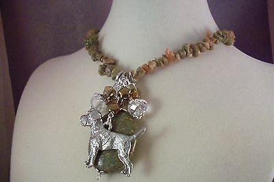 BORDER TERRIER -Dog-apmr- NECKLACE- By USArtisan-UNAKITE -Jewelry-  FREE SHIP