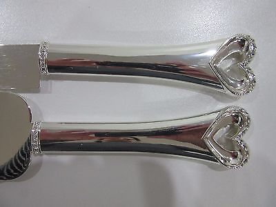 NEW Wedding Cake Knife and Server Set Stainless Steel Diamante Rhinestone Hearts