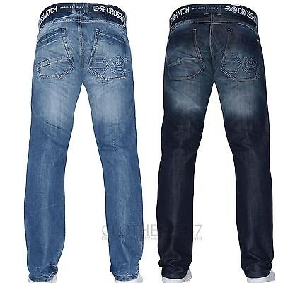 Crosshatch Mens Jeans Straight Fit Designer Branded Boys Trousers Smart Pants