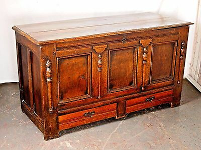 An Antique 18th Century Oak Coffer Blanket Box Chest Ottoman~Delivery Available~