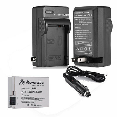LP-E8 Battery Pack + Charger Combo for Canon Rebel T5i T4i T3i T2i DSLR Camera
