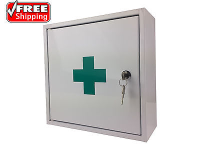 First Aid Medical Cabinet Kit Medicine Box Steel Lock Key Solid Powder Coated