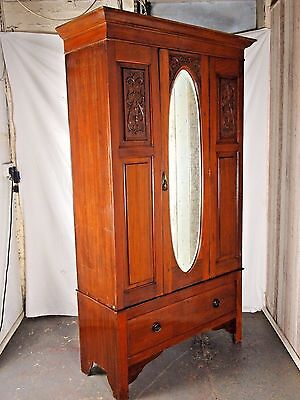 Antique Late Victorian Edwardian Mahogany Mirrored Wardrobe Delivery Available~
