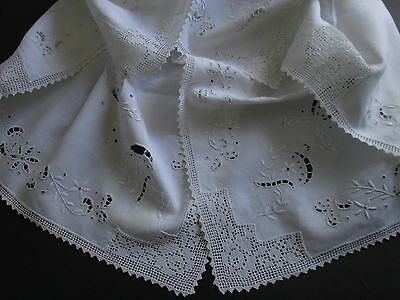 VICTORIAN WHITEWORK TABLECLOTH Filet Crochet Roses Hand Embroidery Antique 34x34