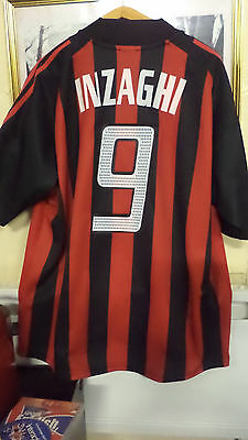 Football Jersey Original  Ac Milan  Inzaghi  #09 Twin Patch Champions And Lega