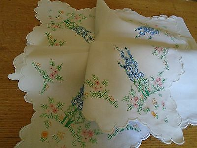 Vintage  Hand Embroidered  Tablecloth -  43 Inches Sq. - Cottage Garden Flowers
