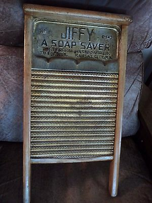Antique Vintage Washboard JIFFY A Soap Saver Large Washboard F - 142