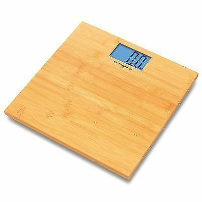 Sentik Bamboo Digital Lcd Electronic Bathroom Weighing Scale New
