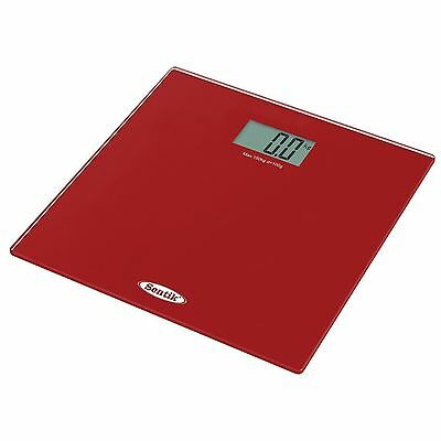 Electronic Digital Lcd Glass Bathroom Body Mass Bmi Weight Weighing Scale (Red)