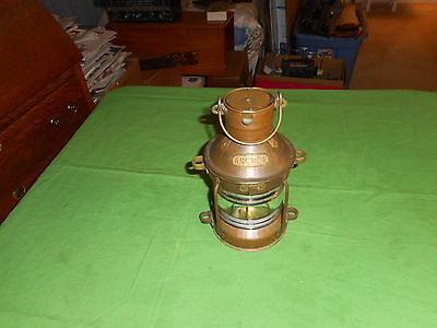 "Vintage Brass Anchor Ships Lantern 9"" Tall Fount Base 4"" Dia. Ribe White Globe"