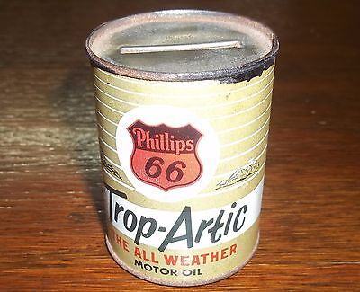 Vintage PHILLIPS 66 Trop-Artic Motor Oil Can Bank Metal Tin Lubri-Tection Plus