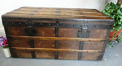 Lovely Large Wooden Canvas Covered Travel Chest Trunk Box Storage