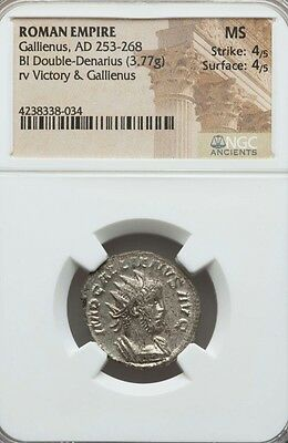 Roman Empire Gallienus Double-Denarius NGC MS 4/4 Ancient Silver Coin