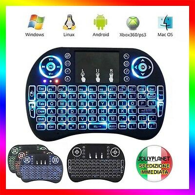 Tastiera Retroilluminata Keyboard Wireless Touchpad Smart Box Tv Android