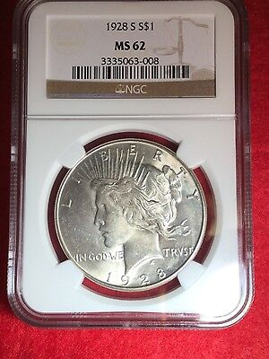 1928-S Peace Dollar   Ngc Ms-62