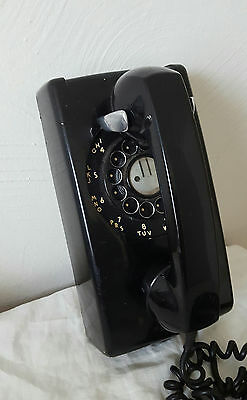 Vintage Black Bell Systems Wall Hanging Rotary Dial Landline Telephone