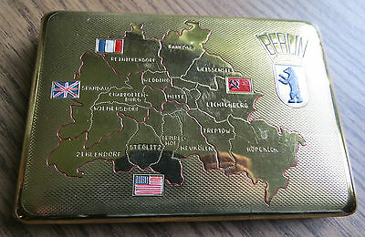 VINTAGE BERLIN MAP CIGARETTE CASE in BRASS SHOWING OCCUPATION ZONES - Cold War