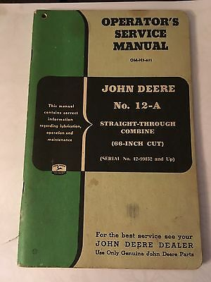 John Deere 12 A Straight Through Combine Service Manual