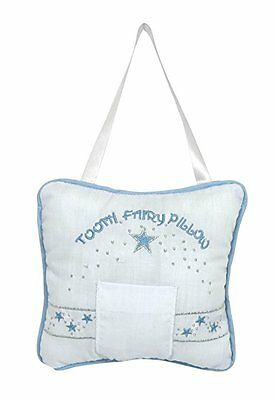 Stephan Baby Keepsake Embroidered Tooth Fairy Pillow, Blue (Discontinued by Manu