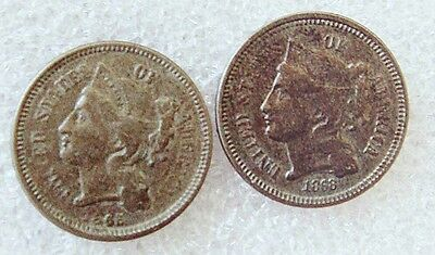 3 Cents x2 USA 1865 & 1868 VF (+)