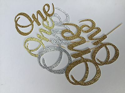 First Birthday number One glitter cake topper, toothpick number, up to 15cm