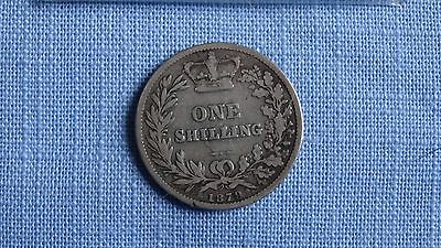 1879 One Shilling Silver Coin.
