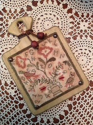 "Primitive Folk Art Punch Needle Original E-Pattern, ""Alphabirdy Rose"""