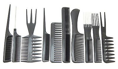 10Pcs Professional Comb Hairdressing Salon Styling Set