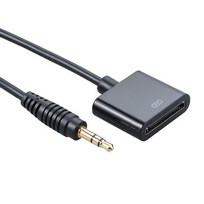 AUX 3.5mm Male to 30-pin Female para iPhone 4S Dock Adapter Cable Black MA600