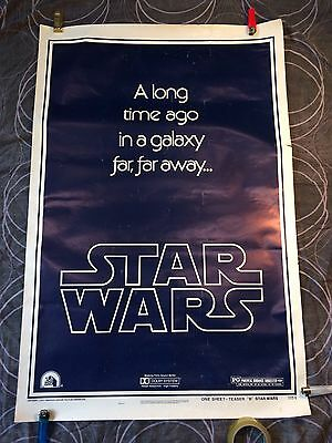 Star Wars 1977 * Style B Advance Teaser One Sheet Movie Poster