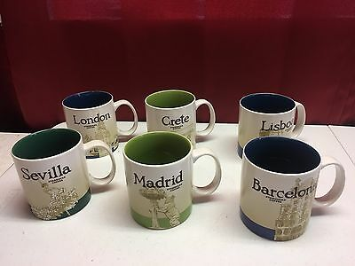 starbucks coffee mugs countries icon huge lot x6