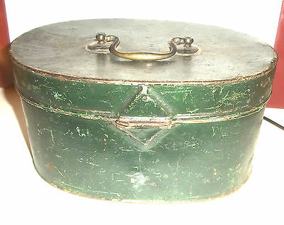 Rare Antique Early Victorian Spice Tin, Green Painted -2 inner sections