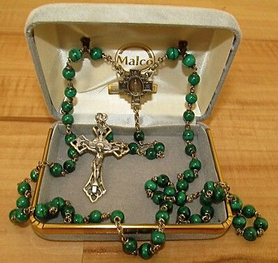 New Vintage Malachite Sterling Silver Rosary Necklace Crucifix Malco Our Lady