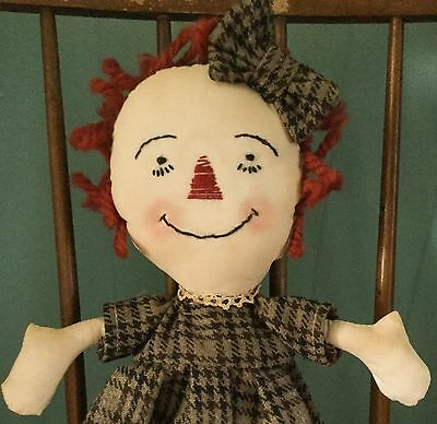 "Sweet Primitive Raggedy Ann Doll ~ 15"" ~ Handcrafted Folk Art ~ SALE"