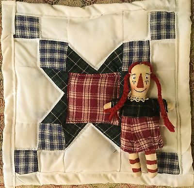 Primitive Raggedy Ann Doll & QUILT ~ Braids ~ Handcrafted ~ SALE