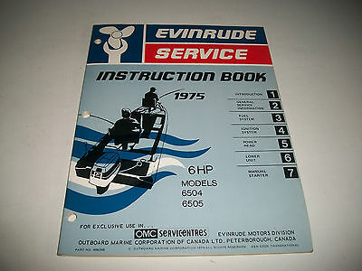 1975 Evinrude ( Johnson) Outboard 6 Hp  Oem Service Shop  Manual Clean