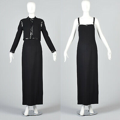 S Vintage 1970s 70s Luis Estevez Black Wool Evening Dress Jacket Set Formal Gown