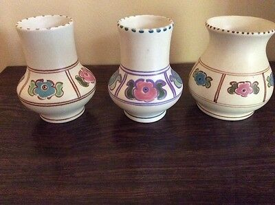 Honiton Pottery 3 Small Vases Hand Painted